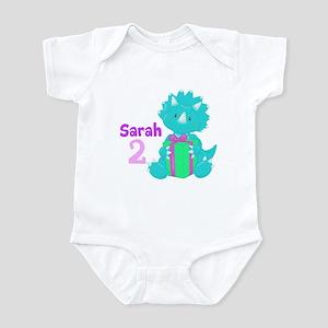 Teal/Pink Dinosaur Infant Bodysuit