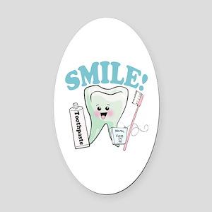 Smile Dentist Dental Hygiene Oval Car Magnet