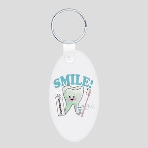 Smile Dentist Dental Hygien Aluminum Oval Keychain