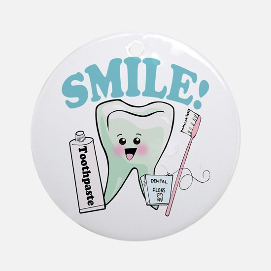 Smile Dentist Dental Hygiene Round Ornament