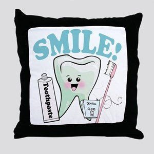 Smile Dentist Dental Hygiene Throw Pillow