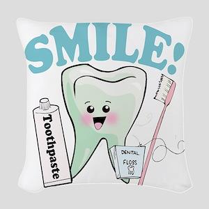 Smile Dentist Dental Hygiene Woven Throw Pillow