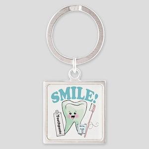 Smile Dentist Dental Hygiene Square Keychain