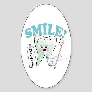 Smile Dentist Dental Hygiene Sticker (Oval)