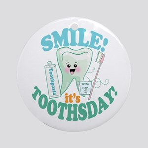 Smile Dentist Dental Hygiene Round Ornament