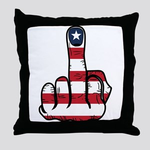 Middle Finger USA Flag Throw Pillow