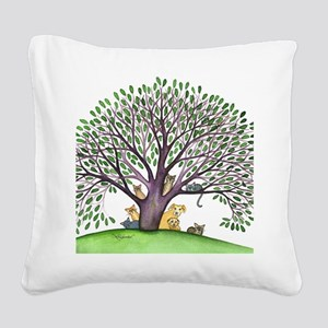 Laurel Stray Cats and Dog Square Canvas Pillow