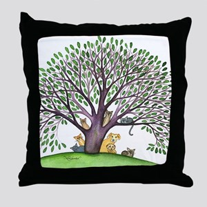 Laurel Stray Cats and Dog Throw Pillow