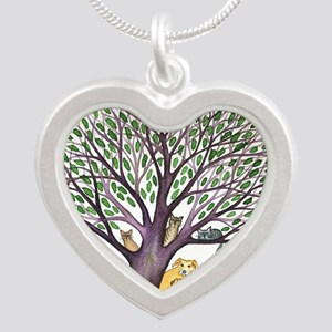 Laurel Stray Cats and Dog Silver Heart Necklace