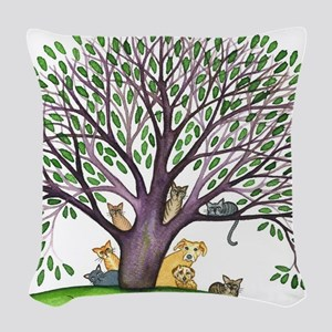 Laurel Stray Cats and Dog Woven Throw Pillow