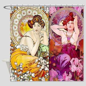Mucha Gems Topaz & Ruby Ladies Shower Curtain