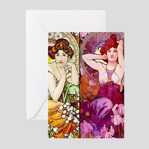 Mucha Gems Topaz & Ruby Greeting Cards (Pk of 20)