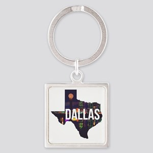 Dallas Texas Silhouette Square Keychain
