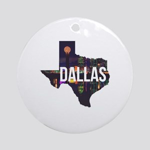 Dallas Texas Silhouette Round Ornament
