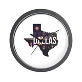 Dallas skyline Wall Clocks