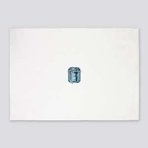 Blue-Brooch 5'x7'Area Rug