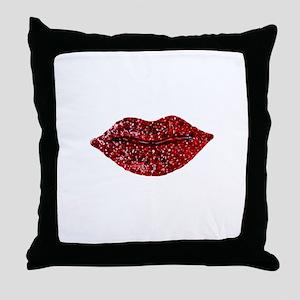 SPARKLING_LIPS Throw Pillow