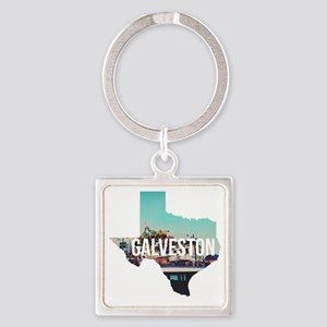 Galveston, Texas Square Keychain