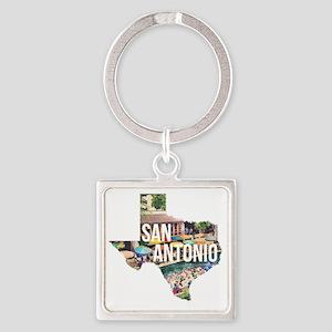 San Antonio Riverwalk, Texas Square Keychain