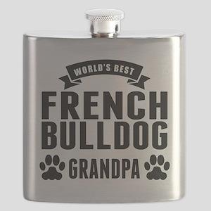 Worlds Best French Bulldog Grandpa Flask