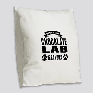 Worlds Best Chocolate Lab Grandpa Burlap Throw Pil