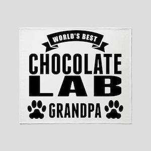 Worlds Best Chocolate Lab Grandpa Throw Blanket