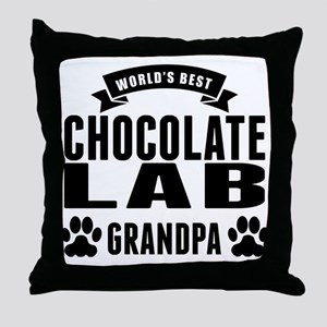 Worlds Best Chocolate Lab Grandpa Throw Pillow