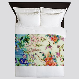 HUMMINGBIRD_STAINED_GLASS Queen Duvet