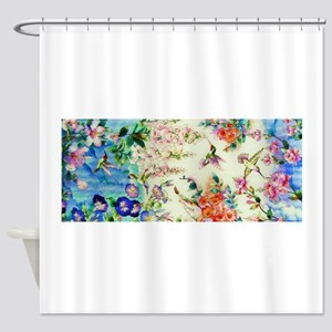 HUMMINGBIRD_STAINED_GLASS Shower Curtain