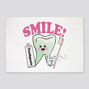 Smile Dentist Dental Hygiene 5'x7'Area Rug