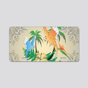 Cute budgerigars Aluminum License Plate
