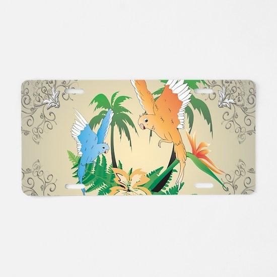 Cute budgerigars Aluminum License Plate