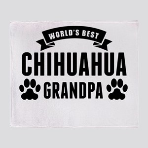 Worlds Best Chihuahua Grandpa Throw Blanket