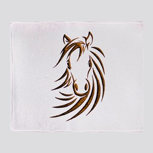 Brown Horse Head Throw Blanket