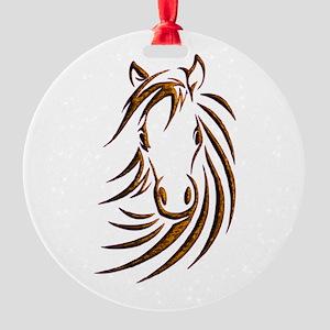 Brown Horse Head Round Ornament