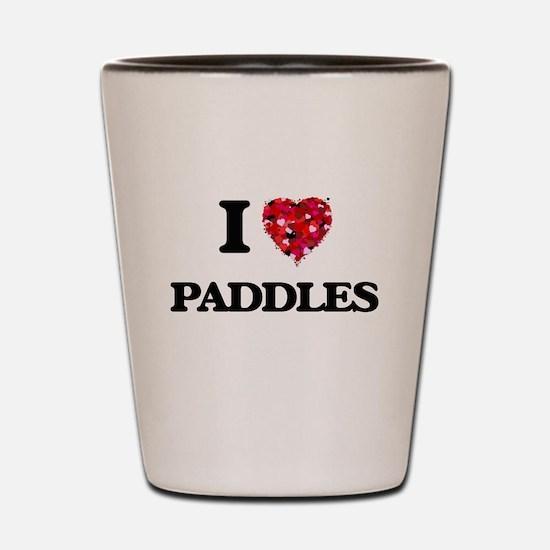 I Love Paddles Shot Glass