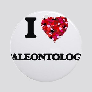 I Love Paleontology Ornament (Round)