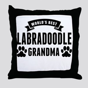 Worlds Best Labradoodle Grandma Throw Pillow