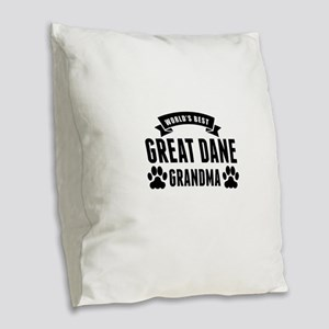 Worlds Best Great Dane Grandma Burlap Throw Pillow