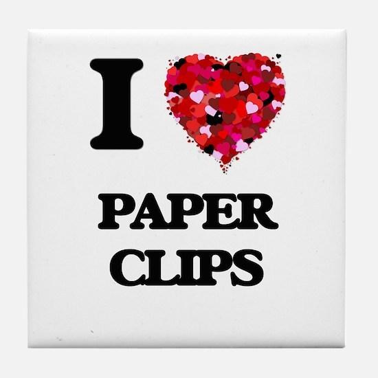 I Love Paper Clips Tile Coaster
