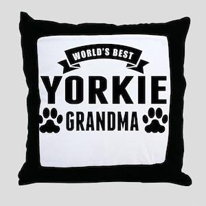 Worlds Best Yorkie Grandma Throw Pillow