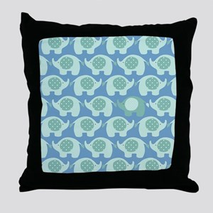 Baby Boy Blue and Green Elephants Throw Pillow