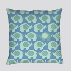 Baby Boy Blue and Green Elephants Everyday Pillow