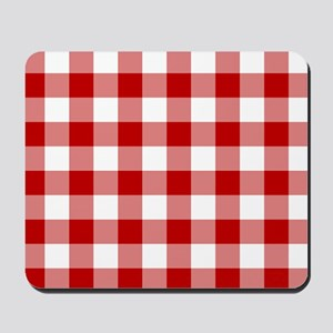 Red Gingham Pattern Mousepad