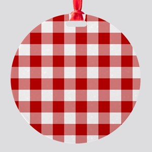 Red Gingham Pattern Round Ornament