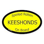 Spoiled Keeshonds On Board Oval Sticker