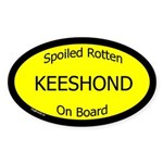 Spoiled Keeshond On Board Oval Sticker