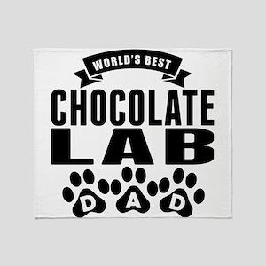 Worlds Best Chocolate Lab Dad Throw Blanket
