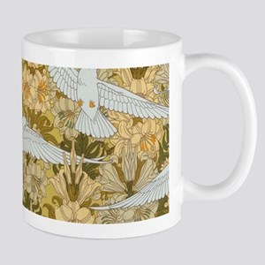 Vintage Art Deco Doves and Flowers Mugs