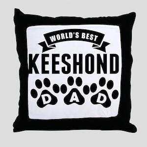 Worlds Best Keeshond Dad Throw Pillow